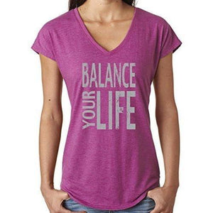 "Womens ""Balance"" V-neck Yoga Tee Shirt - Yoga Clothing for You - 5"