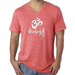 Mens Om Mani Padme Hum V-neck Tee - Yoga Clothing for You - 12