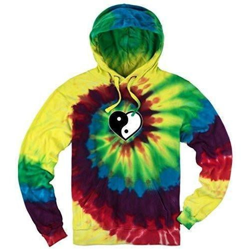 Yoga Clothing for You Mens Tie Dye Yin Yang Heart Hoodie