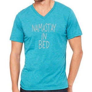 Mens Namast'ay in Bed V-neck Tee Shirt - Yoga Clothing for You - 12