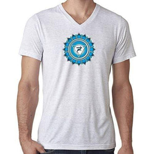 "Mens ""Vishuddha Chakra"" V-neck Tee Shirt - Yoga Clothing for You - 16"