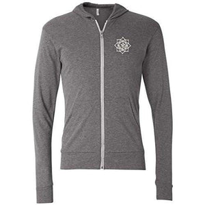 Mens White Lotus OM Patch Full-Zip Hoodie - Pocket Print - Yoga Clothing for You - 4