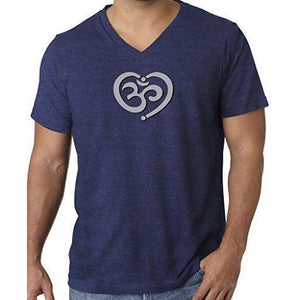 Mens Om Heart Lightweight V-neck Tee Shirt - Yoga Clothing for You - 8