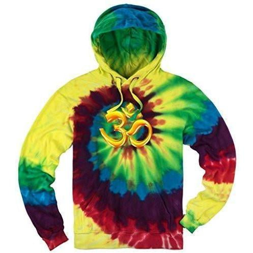 Yoga Clothing for You Mens Tie Dye 3D OM Hoodie