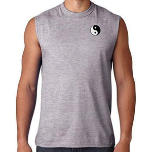 Mens Yin Yang Patch Sleeveless Tee - Pocket Print - Yoga Clothing for You - 3