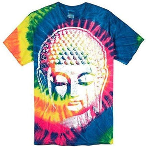 Mens Big Buddha Head Tie Dye Tee Shirt - Yoga Clothing for You - 1
