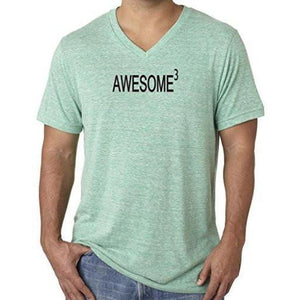 Mens Awesome Cubed V-neck Tee Shirt - Yoga Clothing for You - 5