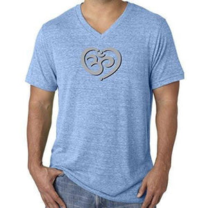 Mens Om Heart Lightweight V-neck Tee Shirt - Yoga Clothing for You - 2