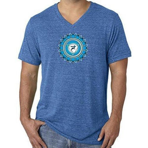 "Mens ""Vishuddha Chakra"" V-neck Tee Shirt - Yoga Clothing for You - 15"