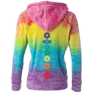 Womens Floral 7 Chakras Burnout V Hoodie - Back Print - Yoga Clothing for You - 1