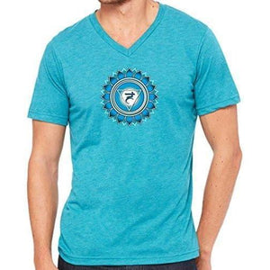"Mens ""Vishuddha Chakra"" V-neck Tee Shirt - Yoga Clothing for You - 1"