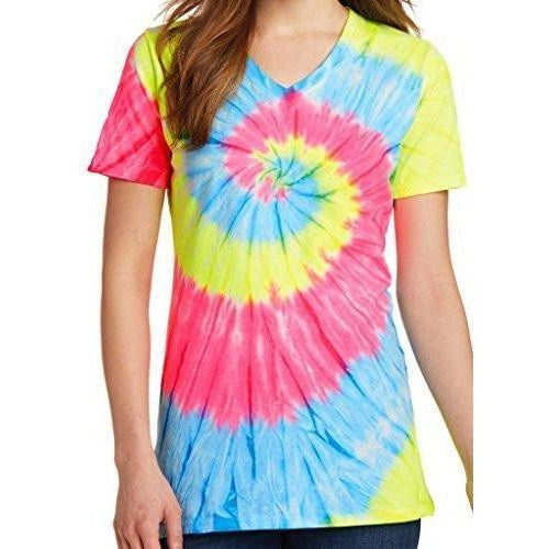 Womens Tie Dye V-neck Tee Shirt - Yoga Clothing for You - 3
