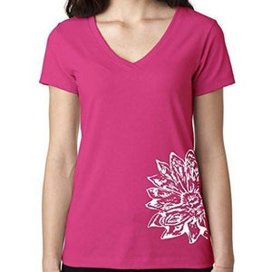 Womens Sketch Lotus Lightweight V-neck Tee - Side Bottom Print - Yoga Clothing for You - 11