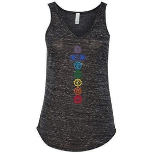 Womens Colored Chakras Flowy V-Neck Tank Top - Yoga Clothing for You - 2