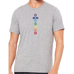 Mens 7 Colored Chakras Marble Tee Shirt - Yoga Clothing for You - 4