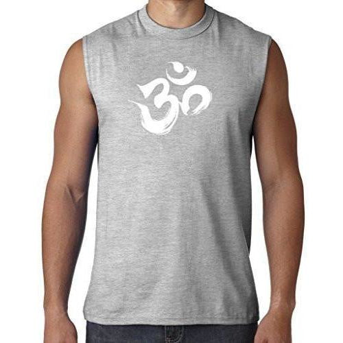 Mens Brushstroke AUM Sleeveless Tee - Yoga Clothing for You - 1