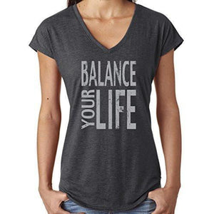 "Womens ""Balance"" V-neck Yoga Tee Shirt - Yoga Clothing for You - 3"