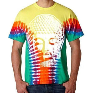 Mens Big Buddha Head V-Dye Tee Shirt - Yoga Clothing for You - 1