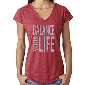 "Womens ""Balance"" V-neck Yoga Tee Shirt - Yoga Clothing for You - 2"