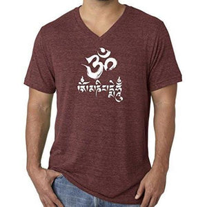 Mens Om Mani Padme Hum V-neck Tee - Yoga Clothing for You - 9