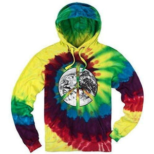 Mens Tie Dye Peace Earth Hoodie - Yoga Clothing for You