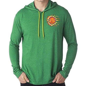 Mens Sleeping Sun Hoodie Tee Shirt - Pocket Print - Yoga Clothing for You - 1
