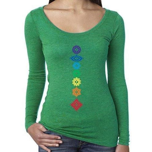 Womenss Floral Chakras Long Sleeve Tee Shirt - Yoga Clothing for You - 1