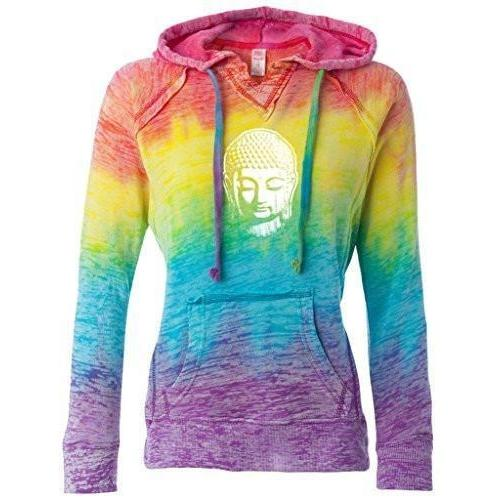 Ladies Burnout V Hoodie - Little Buddha Head - Yoga Clothing for You