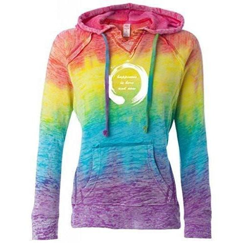 Womens Zen Happiness Burnout V Hoodie - Yoga Clothing for You - 2