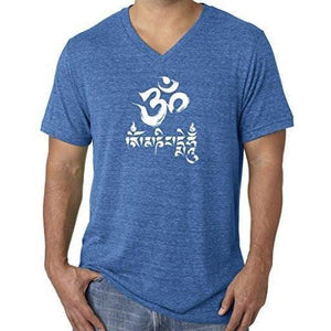 Mens Om Mani Padme Hum V-neck Tee - Yoga Clothing for You - 13