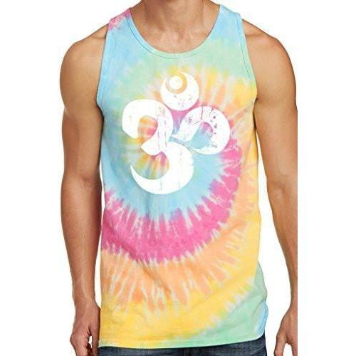 Mens White Distressed Om Tie Dye Tank Top - Yoga Clothing for You - 4