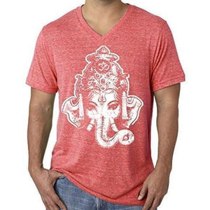 Mens Big Ganesha V-neck Tee Shirt - Yoga Clothing for You - 12