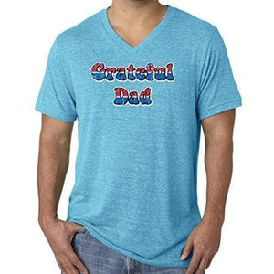 Mens American Grateful Dad V-neck Tee Shirt - Yoga Clothing for You - 1