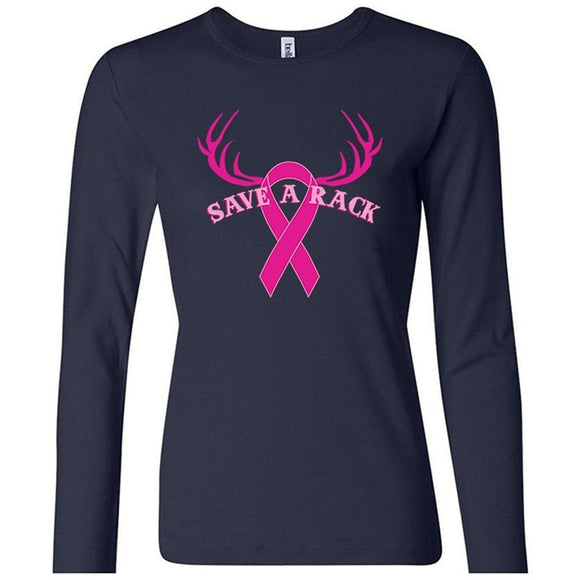 Yoga Clothing for You Save A Rack Breast Cancer Awareness Long Sleeve Shirt - Navy Blue - Yoga Clothing for You
