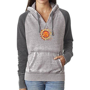 Womens Sleeping Sun Acid Wash Hoodie - Yoga Clothing for You - 1