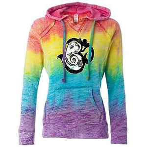 Womens OM Mashup Burnout V Hoodie - Yoga Clothing for You - 2