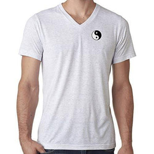 Mens Yin Yang Patch V-neck Tee Shirt - Pocket Print - Yoga Clothing for You - 16