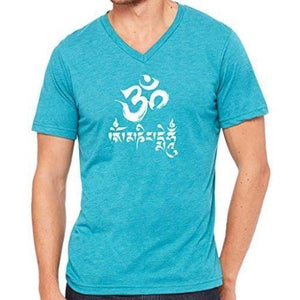Mens Om Mani Padme Hum V-neck Tee - Yoga Clothing for You - 7