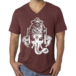 Mens Big Ganesha V-neck Tee Shirt - Yoga Clothing for You - 9