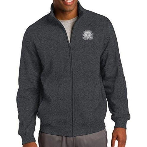 Mens Lotus Flower No-Hood Zip Sweatshirt - Pocket Print - Yoga Clothing for You