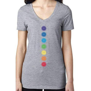 "Ladies ""Glowing Chakras"" Lightweight V-neck Tee - Yoga Clothing for You"