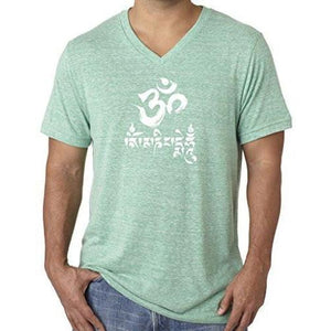 Mens Om Mani Padme Hum V-neck Tee - Yoga Clothing for You - 8
