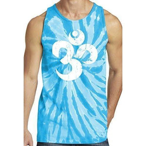 Mens White Distressed Om Tie Dye Tank Top - Yoga Clothing for You - 8