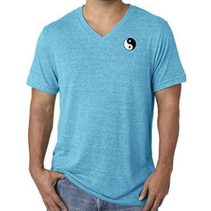 Mens Yin Yang Patch V-neck Tee Shirt - Pocket Print - Yoga Clothing for You - 2
