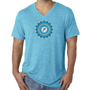 "Mens ""Vishuddha Chakra"" V-neck Tee Shirt - Yoga Clothing for You - 2"