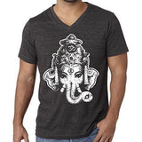 Mens Big Ganesha V-neck Tee Shirt - Yoga Clothing for You - 5