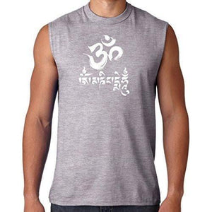 Mens Om Mani Padme Hum Sleeveless Tee - Yoga Clothing for You - 3