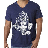 Mens Big Ganesha V-neck Tee Shirt - Yoga Clothing for You - 10