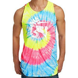 Mens White Tibet Om Tie Dye Tank Top - Yoga Clothing for You - 3