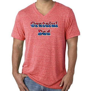 Mens American Grateful Dad V-neck Tee Shirt - Yoga Clothing for You - 10